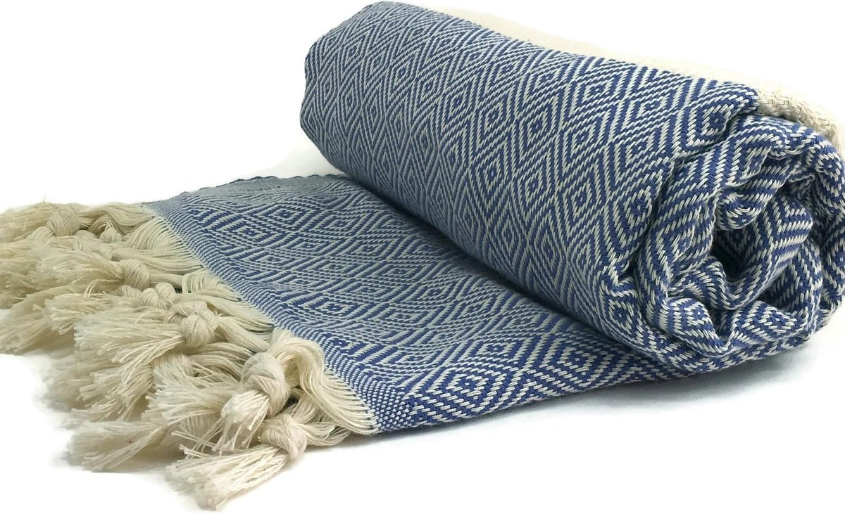 Hamamdoek Blauw | Diamond | zachte Kwaliteit | 425 grams | 100% Coton|170x100cm - HAMAMIQUE