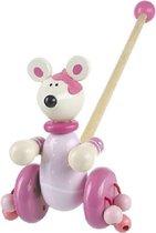 Houten duwstok muis in roze loopstok hout