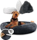 Happysnoots™ Donut Hondenmand Wasbaar met Rits - Fluffy Hondenkussen met Antislip - Kattenmand - Donkergrijs Donut Kussen 80cm