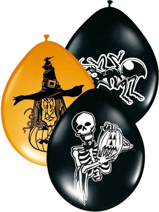 8 zwarte en oranje Halloween ballonnen - Feestdecoratievoorwerp