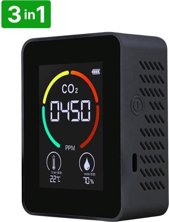 The Life Style Goods - 3 in 1 CO2 Meter, Melder & Monitor - Thermometer - Hygrometer Binnen - Draagbaar en Oplaadbaar - Zwart