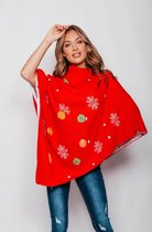 Foute Kersttrui Dames - Christmas Sweater - Poncho Rood - Maat M