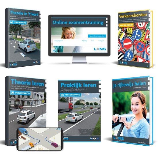 Boek cover Rijbewijs B Theorieboek 2021 - Auto Theorie Pakket voor Theorie Leren Nederland met o.a. 50 online examens, Samenvatting en Praktijkboek - Lens Media van Lens Verkeersleermiddelen (Voordeeleditie)