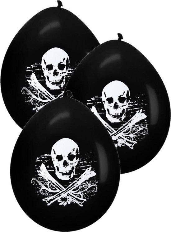 Piraten feestje 8x ballonnen met schedel zwart 28 cm - Kinderfeestje - Themafeest ballon decoratie en versiering