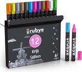 Rubye® Raamstiften Kinderen - 12 stuks - Afwasbaar - Krijtstiften voor raam - Whiteboard stiften - Whiteboard Marker - Window marker - Krijtmarker - Glasstiften - Porselein stiften