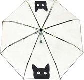 Smati Chat Paraplu - Opvouwbaar - Transparant - Opent Automatisch - Zwart - Kat - Ø100cm