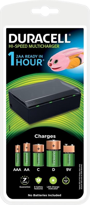 Duracell Batterijlader - Laadt op in 1 uur, geschikt voor AA, AAA, C, D en 9V batterijen