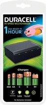 Duracell Batterijlader - Laadt op in 1 uur, geschikt voor AA, AAA, C, D en 9V batterijen - Zwart