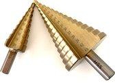 Stappenboor 4-45mm –HSS stappenboor – Kegelboor – Trapgatboor incl. gratis 4-20 mm - Conische plaatfrezen met titanium coating