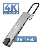 USB-C Hub 8 in 1 - USB splitter - USB C dock - USB 3.0 - 4K UHD HDMI - Apple / Chromebook / HP / Asus / Lenovo - Ethernet - Interhub®