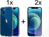 iPhone 13 hoesje apple siliconen transparant case - 2x iPhone 13 Screen Protector