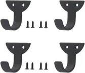 FSW-Products - 4 Stuks - Ophanghaken - Kapstokhaken - Sleutelhaken - Muurhaken - Zwart - Wandhaken - Keukenhaken - Handdoekhaken - Haakjes - Haken - Ophanghaakjes - Haakjes voor sleutels - Industrieel - RVS