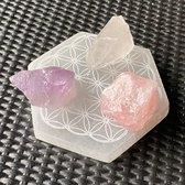 Gouden Driehoek Edelstenen - Amethist - Bergkristal - Rozenkwarts - inclusief katoenen geschenktasje