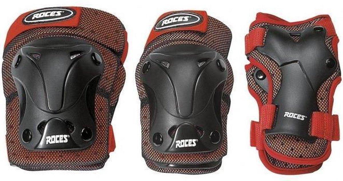 Roces - skate beschermset - 3-Delig - Junior - Zwart/Rood - Maat S - Ventilated - Skate beschermset voor kinderen
