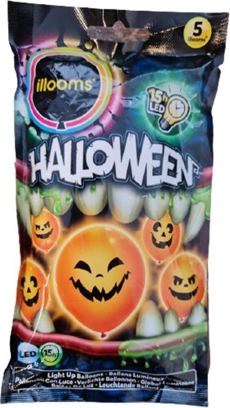 Illooms LED Ballonnen Halloween - Pompoen met verschillende gezichtjes - Set Van 5