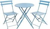 3-delige Bistro set- Grand patio bistro set- 3-delige balkonset-zitgroep 2 stoelen en 1 tafel-premium staal-opvouwbaar-tuinmeubelset voor binnen en buiten tuin-Blau