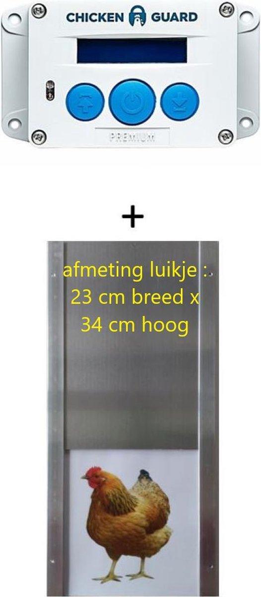 Chickenguard Automatische hokopener Premium + alu luik medium op batterijen - Ingebouwde lichtsensor