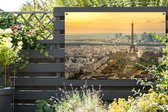 Parijs en de Eifffeltoren met een erg kleurrijke lucht Tuinposter 180x120 cm - Tuindoek / Buitencanvas / Schilderijen voor buiten (tuin decoratie) XXL / Groot formaat!