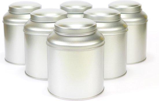 Theeblik met binnendeksel zilver, 6 stuks