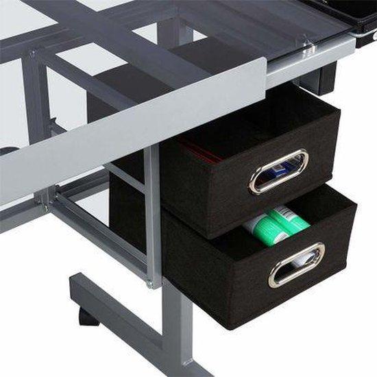 Teken Tafel - Glazen Tafelblad Werkblad - Workstation Lessenaar - Werktafel Buro Verstelbaar -