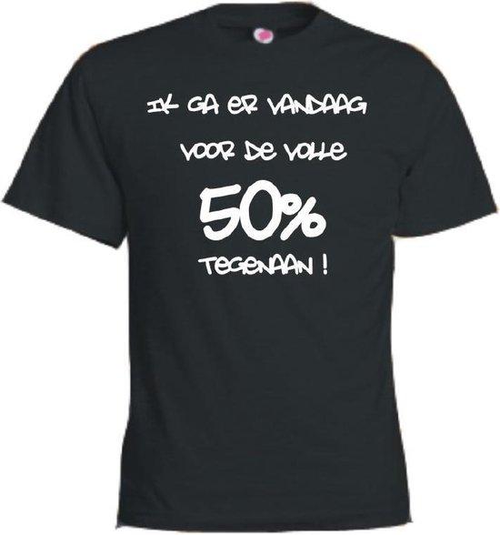 Mijncadeautje T-shirt - Ik ga er voor de volle 50% tegenaan - Unisex Zwart (maat 3XL)