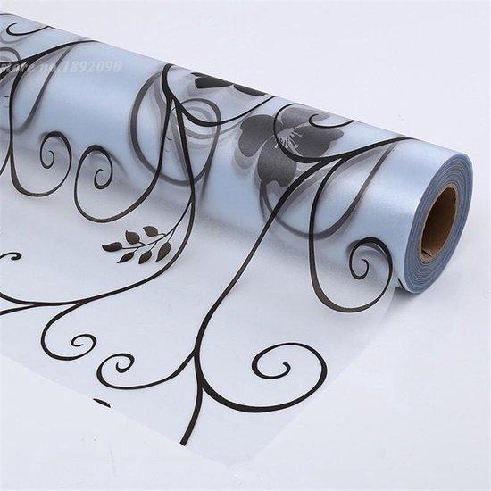 Raamfolie / Glasfolie / Plakfolie / Plakplastic Raam - Bloemen Zwart - 45 x 300 cm
