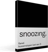Snoozing - Flanel - Kussenslopen - Set van 2 - 40x60 cm - Zwart
