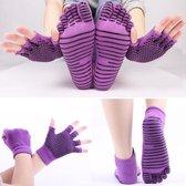 Yoga sokken en handschoenen - Paars - Sportsokken antislip - One size