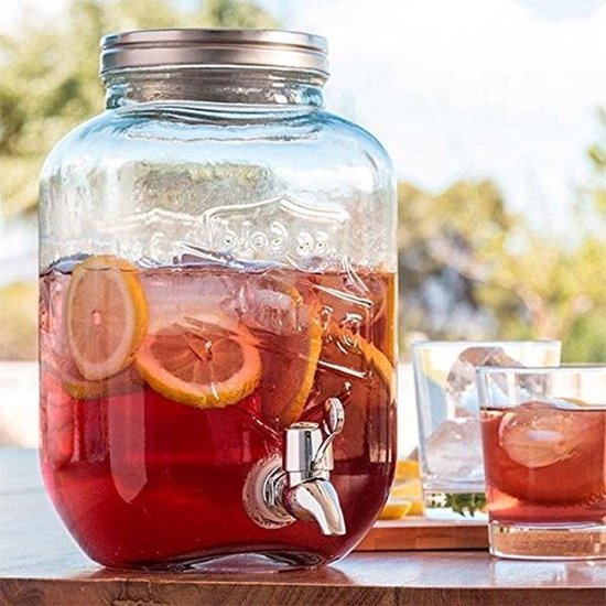 Glazen drankdispenser met tap kraan - Drink Dispener - 3,5 ltr.
