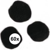 60x knutsel pompons 15 mm zwart