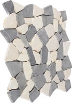 Breuksteen Mozaïektegel marmer grijs-wit 29,6 x 29,6 cm