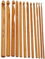 12 Bamboe haaknaalden in verschillende maten en ergonomisch