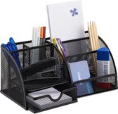 relaxdays pennenbak 6 vakken - bureau organizer - gaas - metaal - bureaustandaard - Mesh zwart