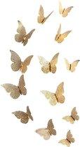 3D Gouden Vlinders Muurstickers - Unieke Muurdecoratie - Muurvlinders - Verschillende afmetingen - 12 Stuks - Gouden Vlinder - SEC