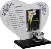 Waxinehouder in memoriam overleden glas hart met gedicht Lieve Oma...