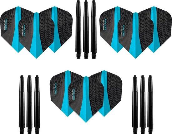 9 stuks Harrows Retina – Aqua - Blauw – Darts flights - en 9 stuks Dragon Darts - Medium – darts shafts