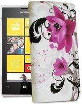 Silicone gel hoesje paars bloem Nokia Lumia 520