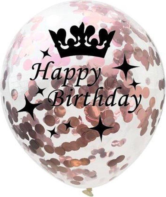 Happy Birthday - Ballonnen Set - Confetti - 5 stuks - Metallic Rose - Balonnen - 30cm