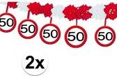 2x Abraham/Sarah feestslingers 50 jaar - 4 meter p/st - feestartikelen versiering 50 jaar - Multi