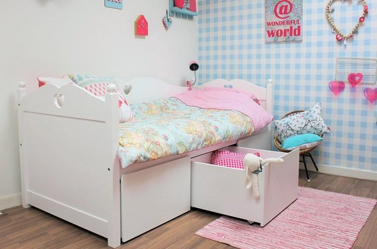 Lilli Furniture - Emma bedbank met 3 mega lades - inclusief lattenbodem - 90x200cm - Wit