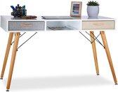 relaxdays bureau met lades - computerbureau - computertafel - Scandinavisch design - wit