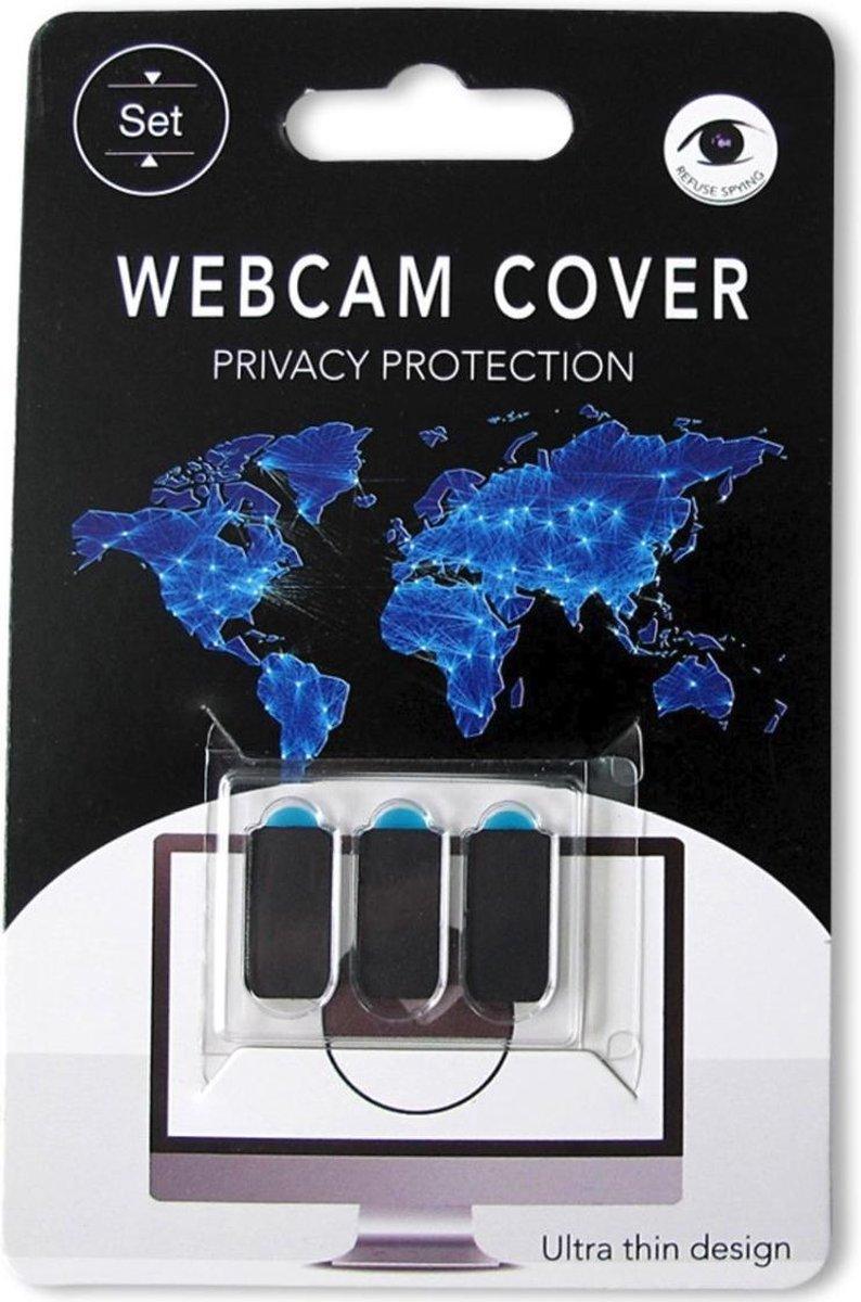 Webcam cover 3 stuks (zwart) privacy protector ultra compact - ultra dun - voor laptop - gsm - tablet.