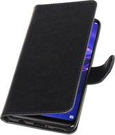 Zwart Pull-Up Booktype Hoesje voor Huawei Mate 20 Lite