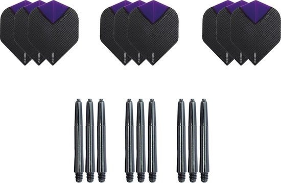 Dragon darts - Dartset - 3 sets dart flights en 3 sets nylon darts shafts - 18 pcs - paars - darts flights