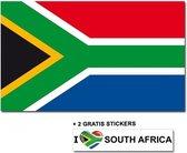 Zuid Afrikaanse vlag met 2 gratis Zuid Afrika stickers