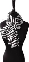 Korte dames sjaal met zebra print zwart gebroken wit - half transparant chiffon - 48 x 150 cm