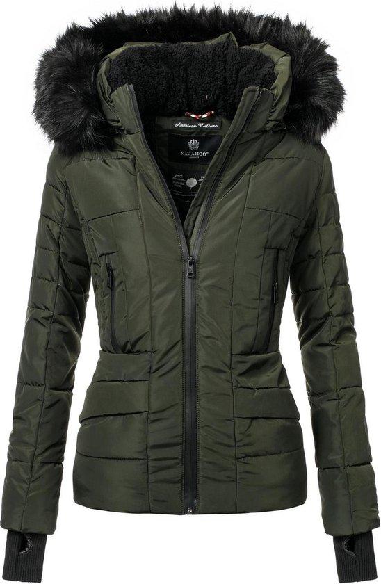| Adele groene dames winterjas kort model gevoerd