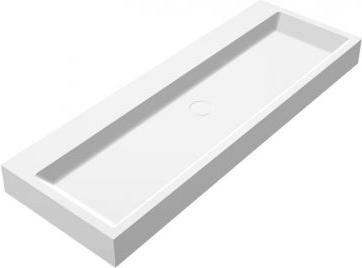 Wastafel Hangend Opera-120 Rechthoek 120x42x10cm Solid Surface Mat Wit Zonder Kraangat