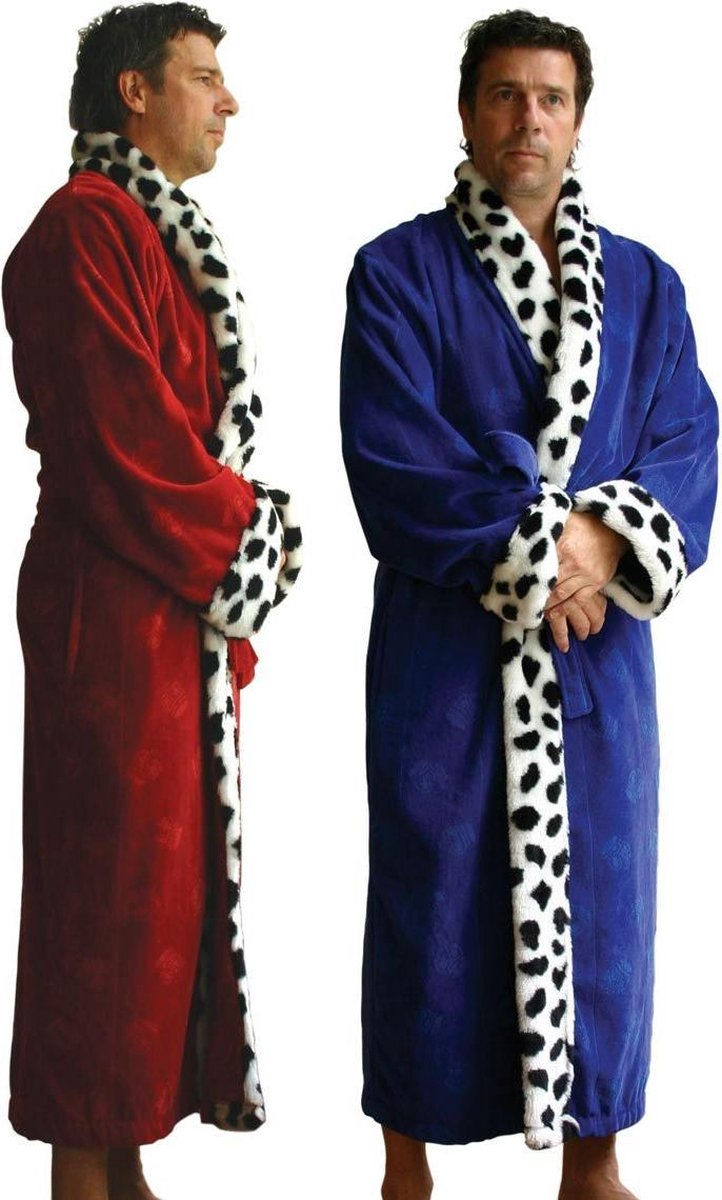 Badjas heren - rood- velours katoen - lengte 130cm - maat L/XL - Funky badjas