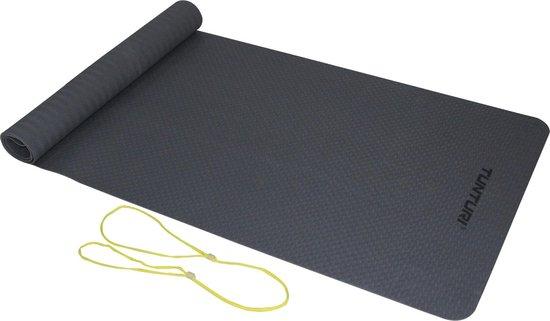 Tunturi TPE Yogamat - Fitnessmat 3mm dik - geel koord - Antraciet